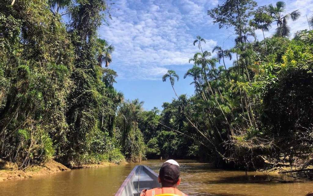 Natuurgids spot naar wilde dieren op een longboat in het Cuyabeno Wildlife Reserve