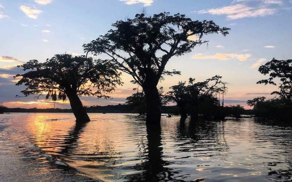 Zonsondergang boven een meer in het Cuyabeno Wildlife Reserve