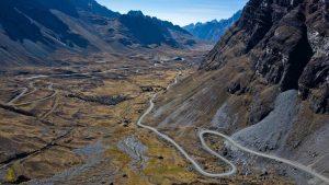 Noordelijke deel van de Yungas Road of Death Road in Bolivia