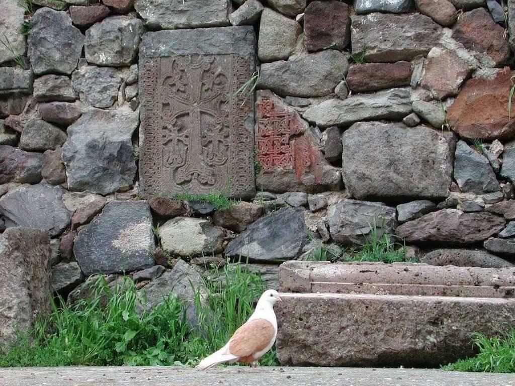 Vredesduif bij een klooster in Armenië