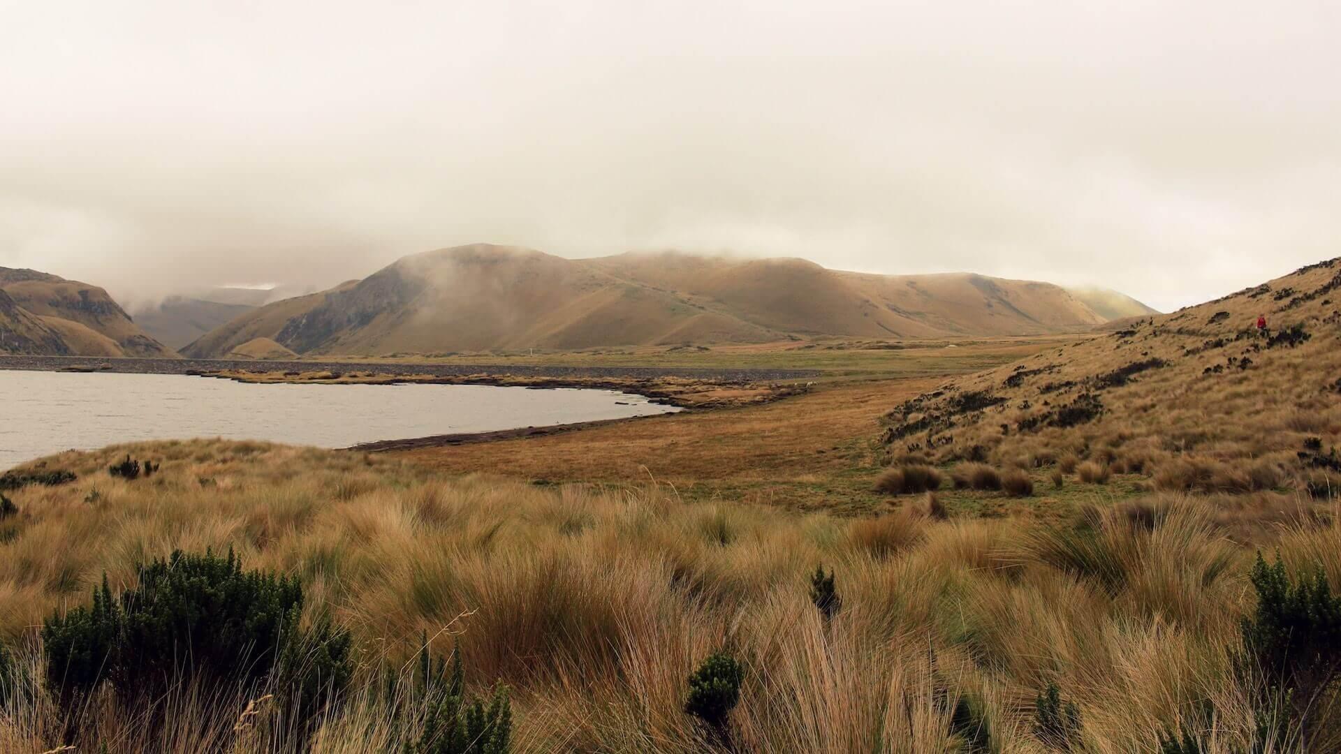 Heuvels en een meer bij de Antisana vulkaan in Ecuador