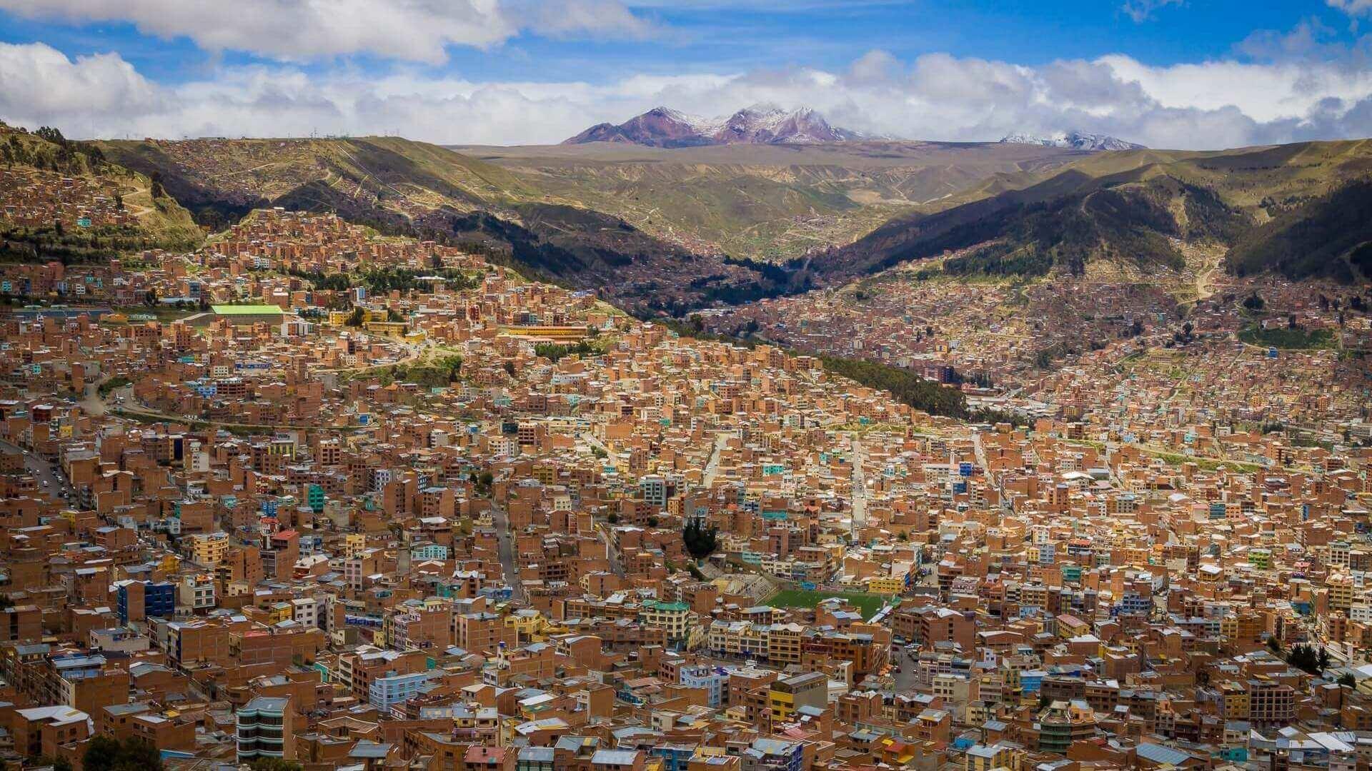 Uitzicht over de daken van La Paz in Bolivia