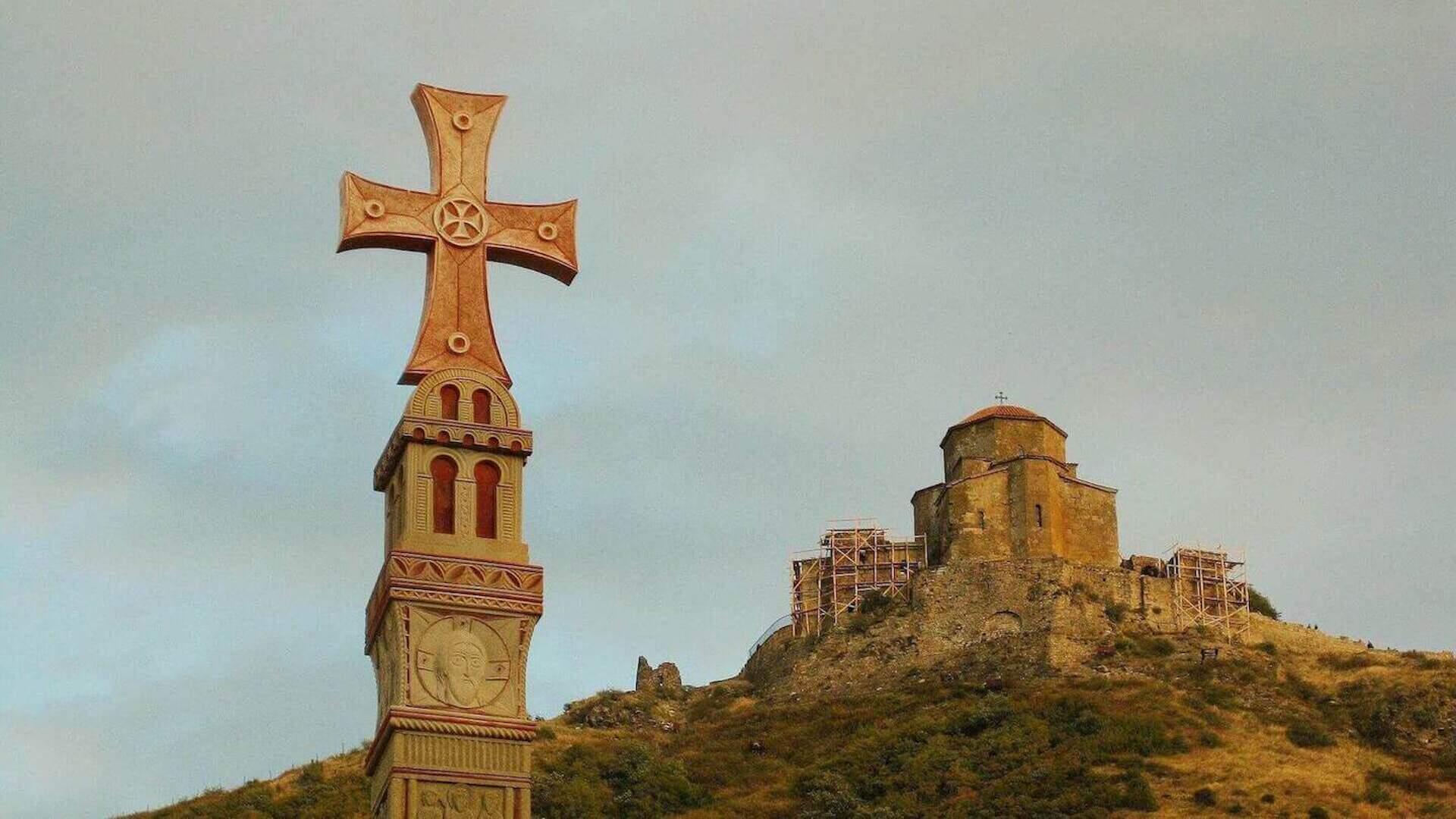 Kruis en het klooster van Jvari in Mtskheta