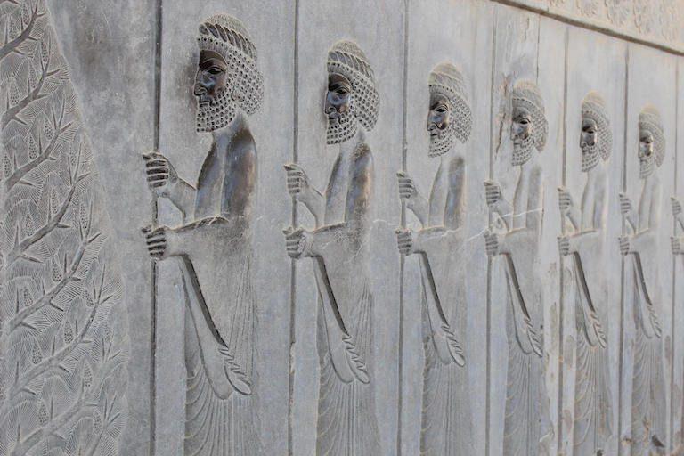 Relief met krijgers in Persepolis