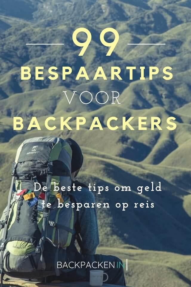 Pinterest afbeelding van een backpacker voor 99 bespaartips voor backpackers.