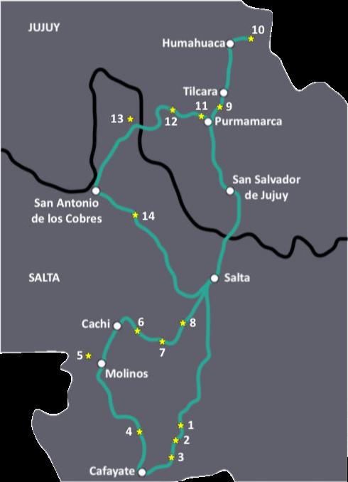 Kaart voor de perfecte roadtrip door Noord-Argentinië