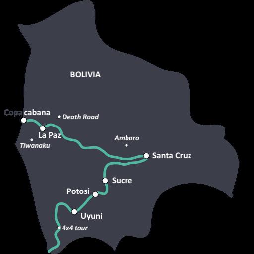 Kaart met de ideale reisroute in Bolivia