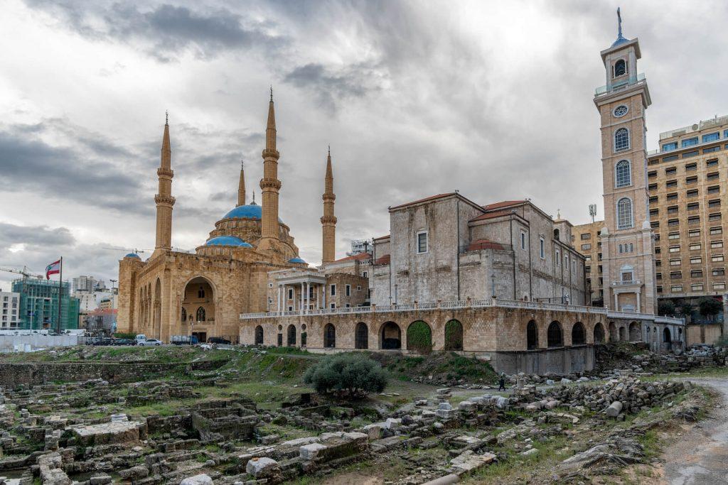 Een kerk en een moskee in het centrum van Beiroet