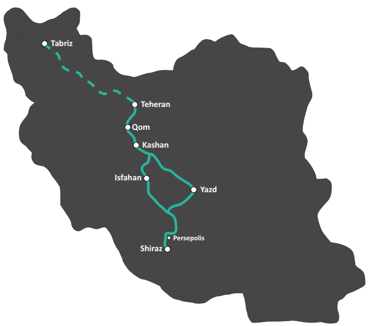 Ideale reisroute van Iran