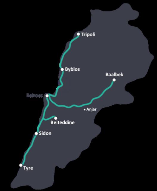 Reisroute door Libanon