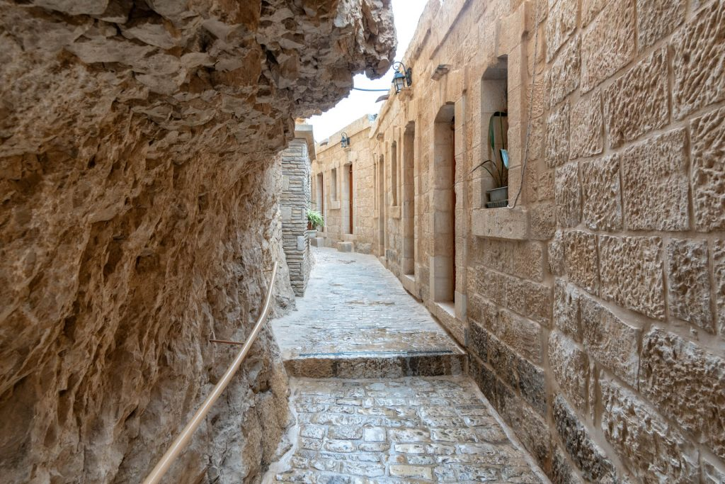 Straatje in een Grieks klooster in Jericho